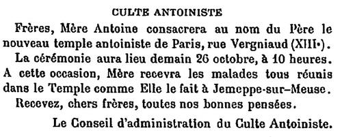 Billet d'annonce de consécration du temple (in L'Écho du merveilleux, 1er novembre 1913)