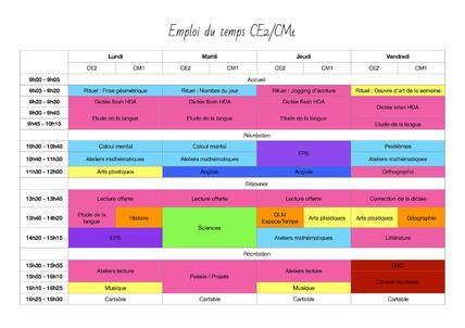 Emploi du temps CE2-CM1 : évolution et changements