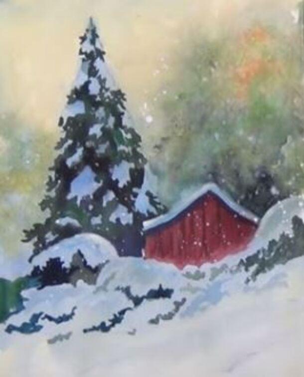 Dessin et peinture - vidéo 1634 : Transposer à l'aquarelle et à l'acrylique, de la neige sur un support humide.
