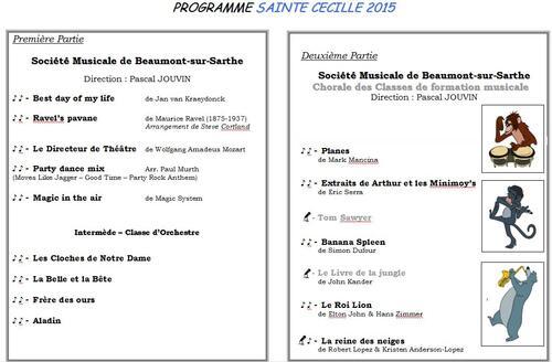 Programme Concert Sainte Cécile 2015