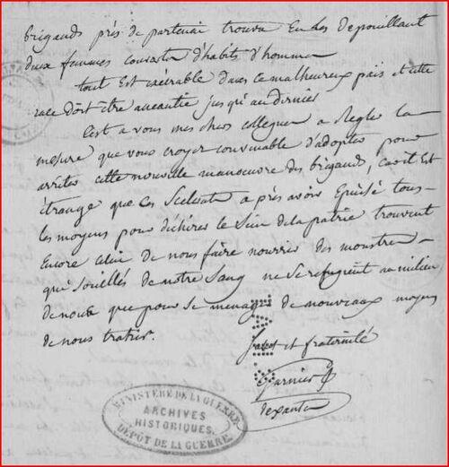Lettre de Garnier de Saintes....