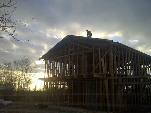 Pose de la Bâche de toiture: 19 Janvier 2014