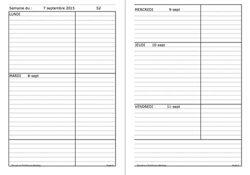 Cahier journal ou agenda