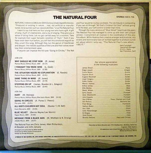 "The Natural Four : Album "" Good Vibes ! "" ABC Records ABCS-706 [ US ]"