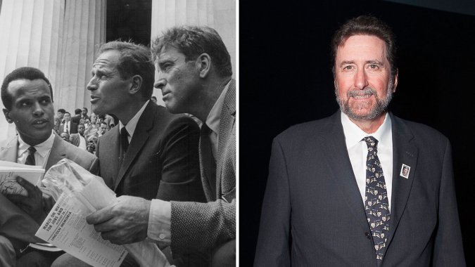 Left: Harry Belafonte, Charlton Heston and Burt Lancaster attend the March on Washington in 1963. Right: Director-producer Fraser Heston