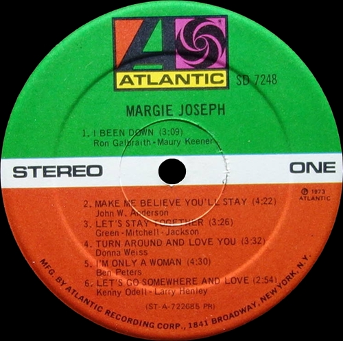 "Margie Joseph : Album "" Margie Joseph "" Atlantic Records SD 7248 [ US ]"