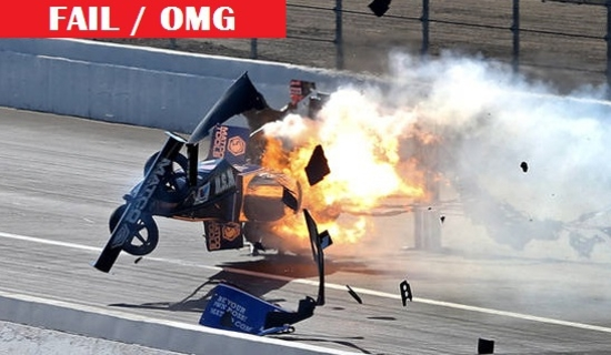 Le vehicule d'Antron Brown a pris feu pendant une course de dragsters