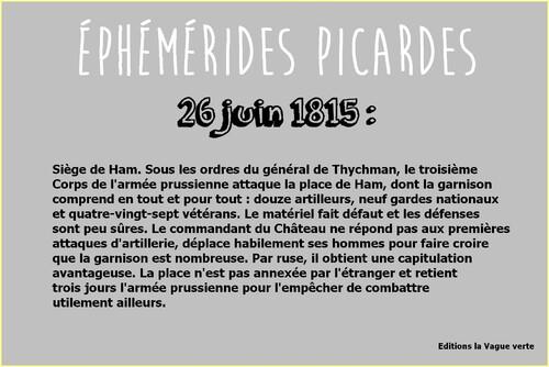 Ephémérides picardes : 26 juin 1815 à Ham