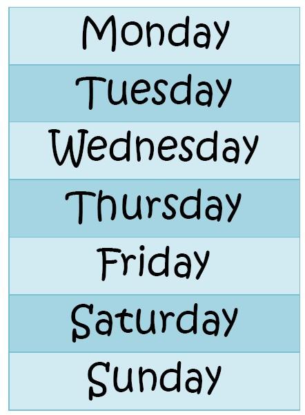 Très Affichage - les jours de la semaine - LocaZil NT25