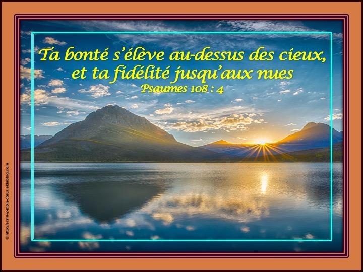 La bonté et la fidélité de Dieu - Psaumes 108 : 4