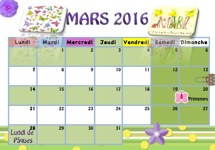 Calendrier pour les enfants la classe de luccia for Calendrier jardin mars 2016