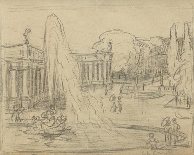 la fontaine, dessin
