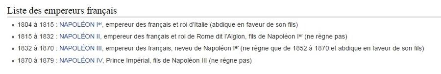 Listes des rois et des  empereurs  de France