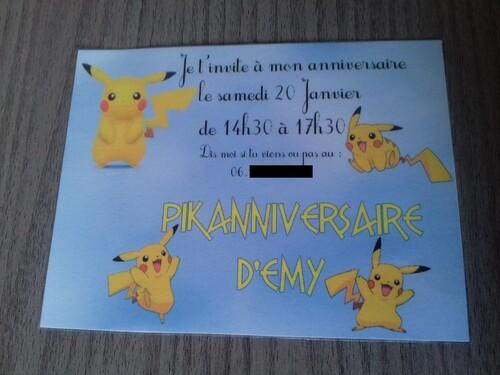 Invitation anniversaire pikachu