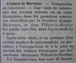 1923 : l'électricité arrive à Villiers
