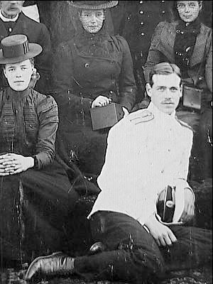Background: Dowager Empress Marie, Grand Duchess Xenia Alexandrovna.    Foreground: Grand Duchess Olga Alexandrovna and Grand Duke Michael Alexandrovich: