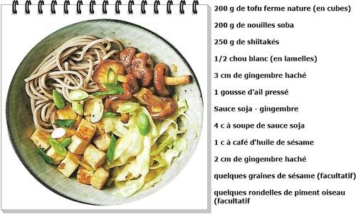 Tofu grillé, nouilles soba et shiitaké