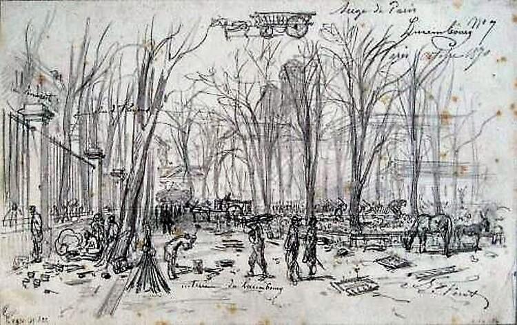 Siège de Paris 1870. Croquis du jardin du Luxembourg