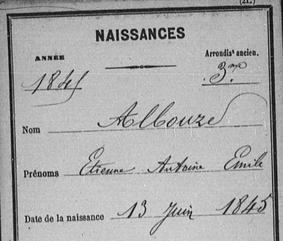 Émile Albouze acte naissance