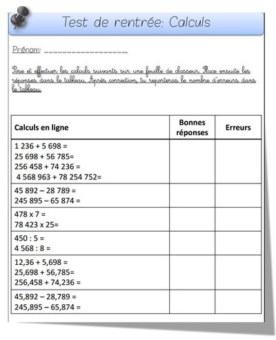 Evaluation diagnostique calculs
