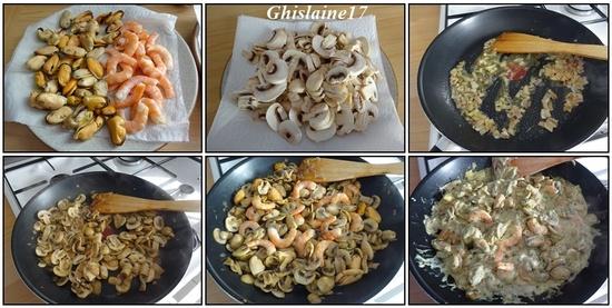 Crumble de moules, crevettes, champignons au curry