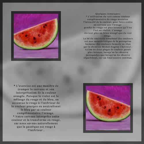 Dessin et peinture - vidéo 3490 : Comment peindre le rouge d'une pastèque, sans la couleur rouge ? - acrylique,huile.