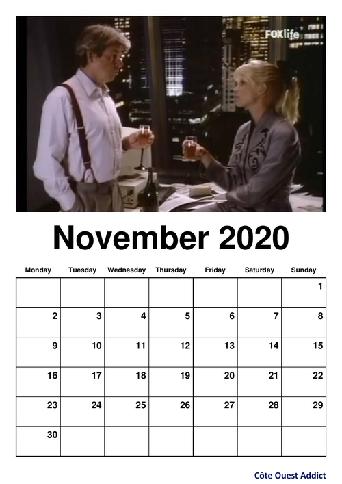 Monthly calendars in English./Calendriers mensuels en anglais.
