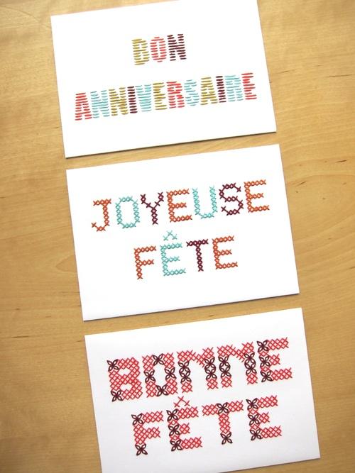 Trois cartes brodées anniversaire fête