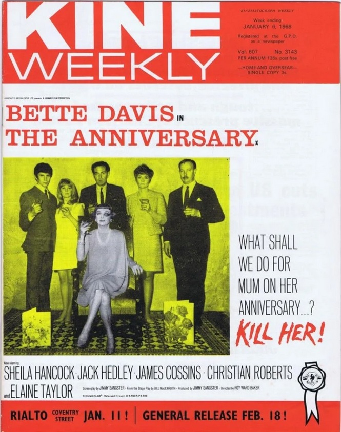 THE ANNIVERSARY  BOX OFFICE USA 1968