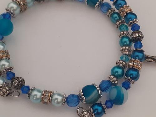 Bracelet à mémoire de forme 2 rangs bleu