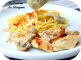 Filets de poulet facon stroganoff (sauce cognac)