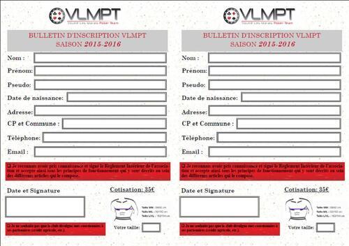 Bulletin d'inscription 2015/2016