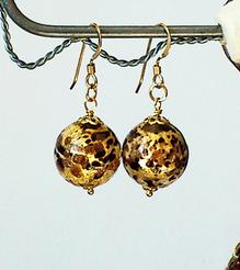 Boucles Verre de Murano authentique Moucheté Brun Feuille d'Or / Plaqué Or Gold Filled