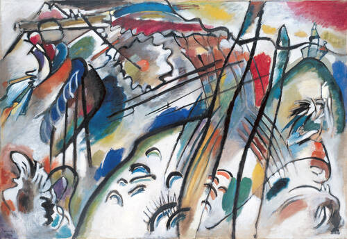 Improvisation 28 (second version), 1912. Huile sur toile 111,4 cm sur 162,1 cm. Solomon R. Guggenheim Museum, New York.