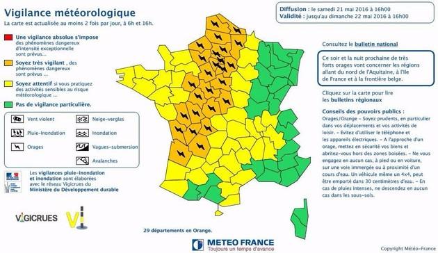 29 départements ont été placés en vigilance orange, pour des orages, de la grêle et/ou des vents violents. (© Météo France)