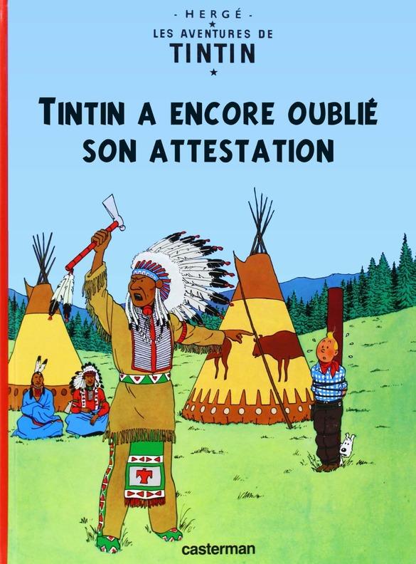 Rions avec les couvertures des livres de Tintin...un peu détournées !....