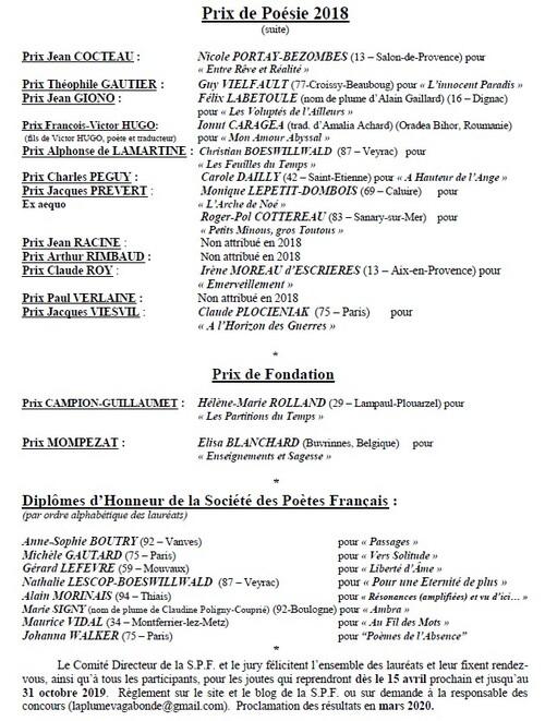 Palmarès Prix SPF 2018