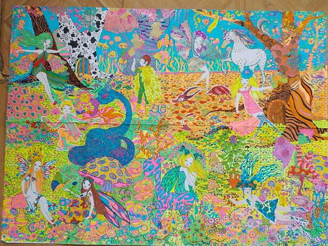 DOMANDALAS  poster XXl monde fantastique des fées et lutins