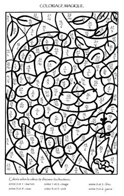 Fractions supérieures à 1 - Coloriages magiques
