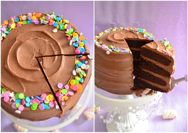 Double Chocolate Layer Cake & Chocolate Fudge Frosting