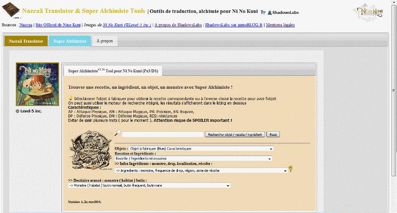 Nazca� Translator &et Super Alchimiste Tool Pour Ni No Kuni