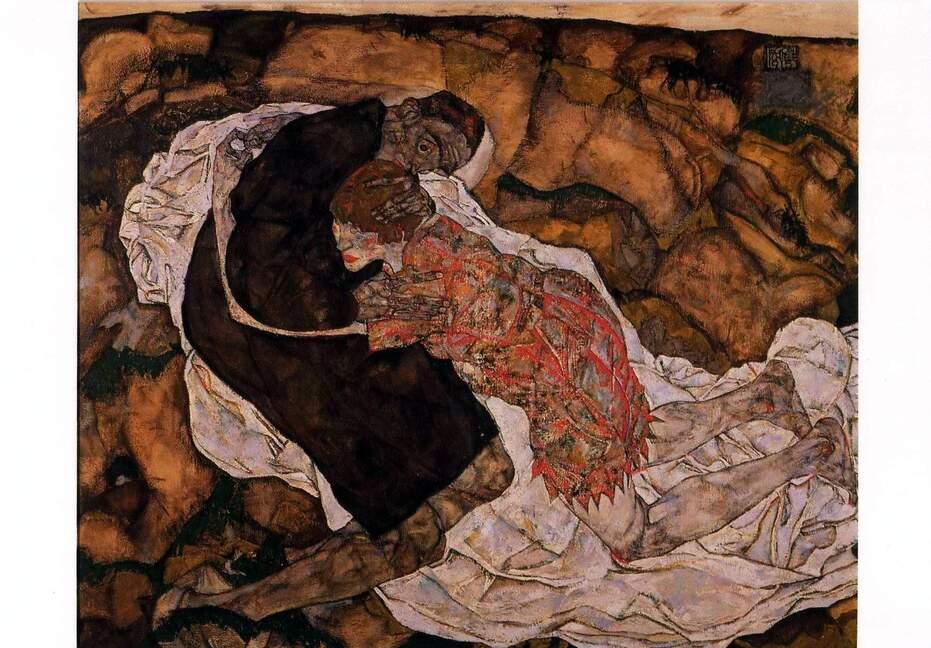 La Jeune Fille  et la Mort  (  Egon Schiele )