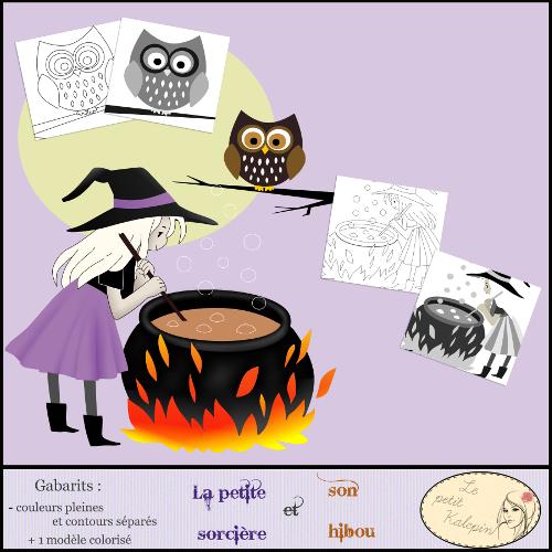 La petite sorcière et son hibou ( gabarit)