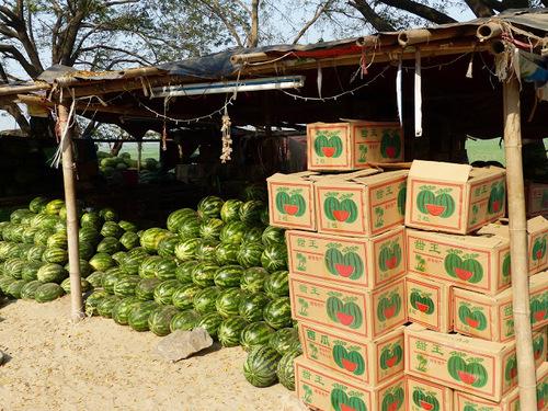 vente de pastèques au bord de la route