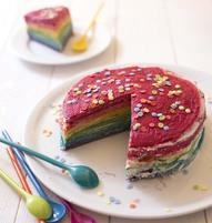 Photo de la recette : Gâteau de crêpes façon rainbow cake