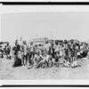 Chief Running Wolf and party of Blackfoot men at Siksika fair. 1907