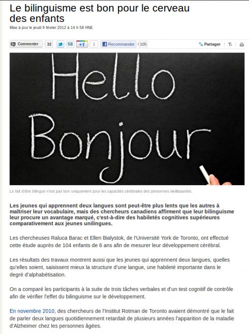 Le bilinguisme est bon pour le cerveau des enfants
