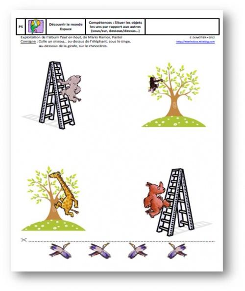 Exploitation d'album - Tout en haut, Mario Ramos, Pastel, L'école des loisirs, 2005