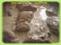 filet mignon à la crème et sirop  d'érable