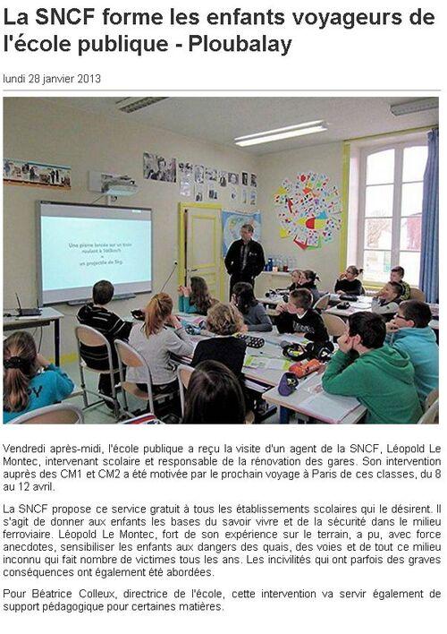OUEST FRANCE - 28/01/2013 - La SNCF forme les enfants voyageurs de l'école publique